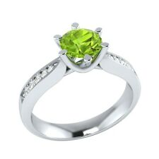 0.95 ct Natural Peridot & Certified Diamond Solid Gold Wedding Engagement Ring