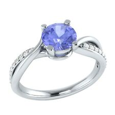 0.80 ct Natural Tanzanite & Certified Diamond Solid Gold Wedding Engagement Ring
