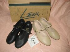 Leo's Dancewear child JAZZ TAP BLACK or BEIGE Tan LEATHER Strap SHOES 6026 6028
