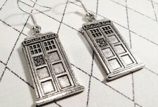 Police Box Earrings, dangle, inspired by Doctor Who and the TARDIS