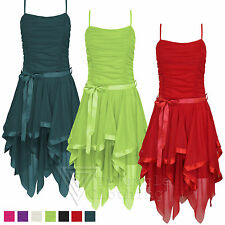 Chiffon Dress Dip Zig Zag Hem Ruched Ribbon Tie Prom Bridesmaid Party Ladies