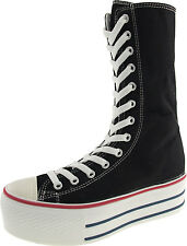 Maxstar C50 13 Holes High-top Zipper Platform Canvas Middle Boots