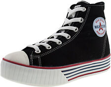 Maxstar Women's C30 7 Holes Zipper Canvas High Top Platform Sneakers