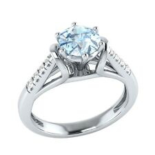 0.70ct Natural Aquamarine & Certified Diamond Solid Gold  Engagement Ring
