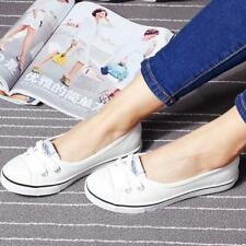 New Womens Ladies Flat Canvas Casual Shoes Size Spring Slip On Loafers