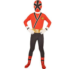 Red Boys Power Rangers costume kids samurai morpher cosplay child Full Zentai