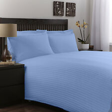 500 TC Hotel Light Blue Striped 100% Egyptian Cotton All UK Bedding Set's *