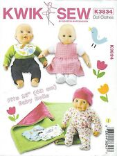 """Kwik Sew 3834 16"""" Doll Clothes  Craft Sewing Pattern"""