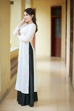 AO DAI Vietnam CUSTOM MADE, Silk & Satin, White Dress & Black Skirt, Best Price