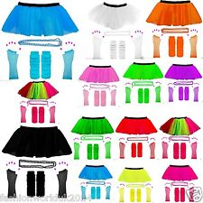 FANCY DRESS HEN PARTY 1980s NEON UV TUTU FISHNET SKIRT GLOVES LEG WARMER & BEADS