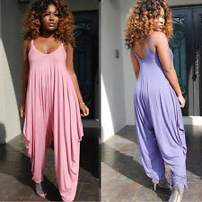 Fashion Women OL Tiered Stretch Jumpsuit Romper Playsuits Harem Pants Trousers
