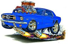 1965-66 Ford Mustang Muscle Car-toon Art Tshirt NEW