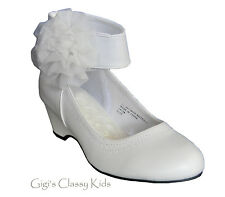 New Flower Girl White Dress Shoes Party Heel Wedges Pageant Wedding Hailey 671