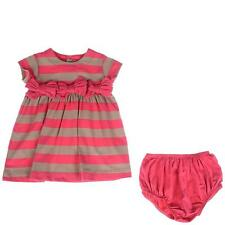 LILI GAUFRETTE French Girls 12m DK PINK/TAUPE STRIPE DRESS w/BLOOMERS NWT