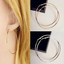 1Pair Vogue Charm Gold Silver Plated Women Hoop Earrings Dangles Fashion Jewelry