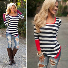 Fashion Casual Crew Striped Sexy Blouse Long Sleeve T-Shirt Loose Women Neck Top