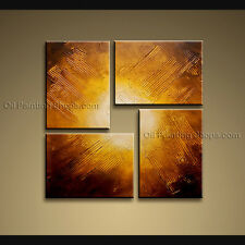 Hand Painted Tetraptych Modern Abstract Painting Wall Art Gallery Wrapped