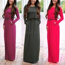 Women Long Sleeve Evening Party Ball Prom Gown Formal Cocktail Maxi Dress S-XL
