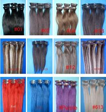 "clip in hair extensions 100% remy real human hair 15"" 20"" 6pcs 30grams straight"