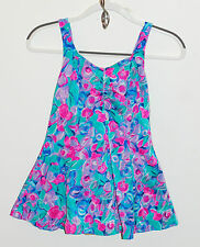 Vintage Maxine of Hollywood Skirted Floral Pink Green Blue Lined Swimsuit M/L