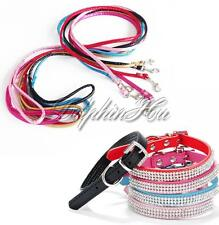 Pet Dog Puppy Cat Shiny Rhinestone Adjustable Lead Leash+Neck Strap Collar Set
