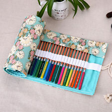 Rose and Clock Canvas Color Pencil case Pencil Wrap Roll Pencil bag36/48/72 Hole