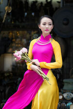 AO DAI Vietnam CUSTOM MADE, Pink & Yellow Dress & Yellow SATIN Skirt, Best Price
