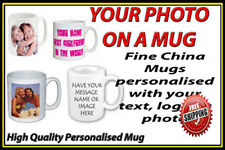 Personalised Ceramic Mug and Leather Coaster with your Photo,Image,Text Or Logo