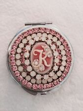 ~Initial Letter~ Crystal Rhinestone Cameo Makeup Mirror or Pillbox Pill Box USA