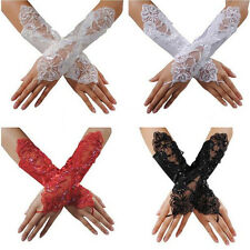 Wedding Bridal Prom Long Sequin Floral Lace Fingerless Party Evening Gloves
