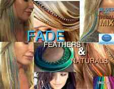 Feather Hair Extensions XXX Long Blue Ombre Fade Feathers Optional Tools Kits
