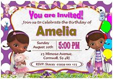 Personalised Doc McStuffins Birthday Invitations Party Invites Envelopes - I34