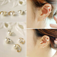 Fancy Punk Lady Pearl Ear Wrap Ear Cuff Earring Cartilage Clip On No Piercing