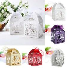 50 PCS With Ribbon Wedding Party Love Bird Laser Cut Gift Boxes Candy Favor