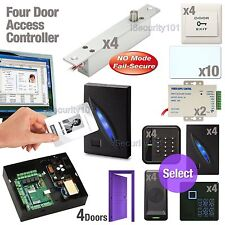 4 Door Access Controller Board RFID System + Electric Bolt Door Lock NO Mode