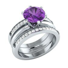 2.20 ct Natural Amethyst & Diamond Solid Gold Engagement Wedding Guard Ring Set
