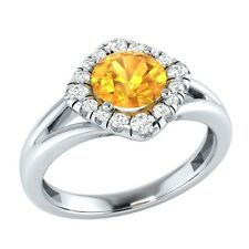 0.75 ct Natural Citrine & Certified Diamond Solid Gold Engagement Ring