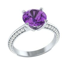 2.25ct Natural Amethyst & Certified Diamond Solid Gold Wedding Engagement Ring