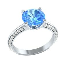 2.25 ct Natural Topaz & Certified Diamond Solid Gold Engagement Ring