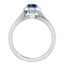 1.00 ct Natural Sapphire & Certified Diamond Solid Gold Engagement Wedding Ring