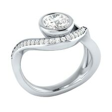 0.75ct Real White Sapphire & Certified Diamond Solid Gold Engagement Ring