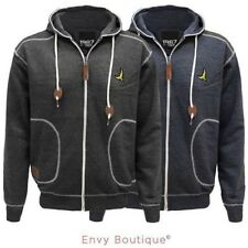 Mens Quilted Cord Patch Hooded Zip Jumper Sweatshirt Hoodie Jacket Coat
