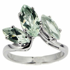 925 Sterling Silver Natural Green Amethyst 2.15 Ct Ring
