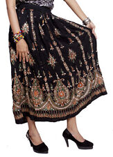 Apparels India Women's Rayon Long Skirt Boho Hippie Embroidered Work (Free Size)