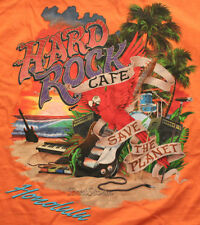 HARD ROCK CAFE HONOLULU HAWAII GUITAR DRUMS KEYBOARD PARROT ORANGE T SHIRT TEE