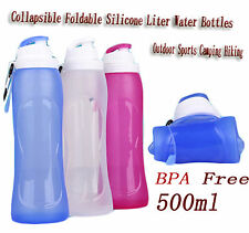 Collapsible Foldable Silicone Liter Water Bottles Outdoor Sports Camping Hiking