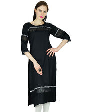 Bimba Women Black Tunic Indian Kurti Formal Casual Rayon Kurta Blouse With Lace