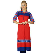 Bimba Women Ethnic Rayon Straight Kurti Kurta Long Blouse Chic Top Tunic Indian