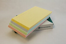 100 LINED REVISION RECORD INDEX FLASH CARDS 5 X 3, 6 X 4, 8 X 5 PINK BLUE GREEN