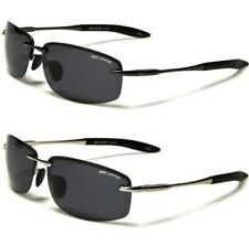 NEW BLACK SUNGLASSES POLARIZED MENS LADIES RIMLESS DESIGNER SPORTS WRAP METAL